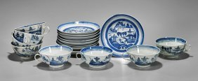 Seventeen Antique Export Canton Porcelains