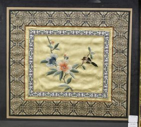 Pair Chinese Silk Embroidered Panels