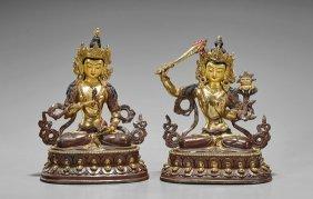 Pair Sino-tibetan Copper Figures