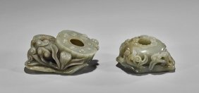 Two Celadon Jade Brushwashers