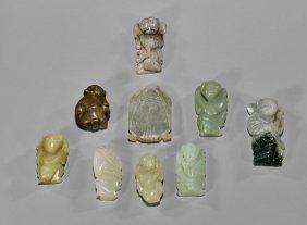 Nine Chinese Jade & Hardstone Toggles