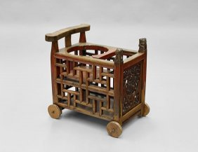 Antique Chinese Wood Rolling Cart