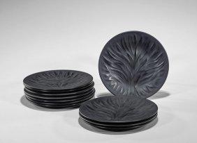 Eleven Lalique 'algues' Glass Plates