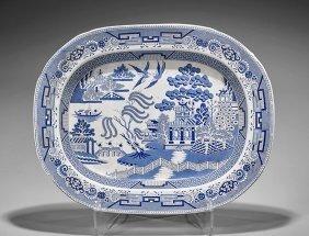 Antique-style Blue & White Porcelain Charger