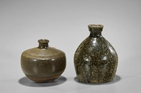 Two Antique Japanese Green Glazed Vases