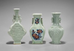 Three Antique Chinese Celadon Glazed Vases