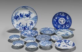 Thirteen Various Blue & White Porcelain Dishes