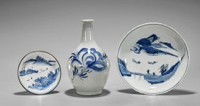 Three Antique Japanese Blue & Whites