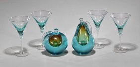 Six Turquoise Glass Items: Glasses & Fruit
