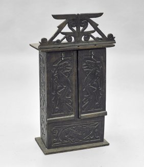 Southeast Asian Carved Wood Wall Cabinet