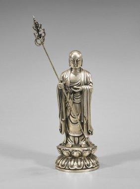 Chinese Silvered Ksitigarbha Buddha