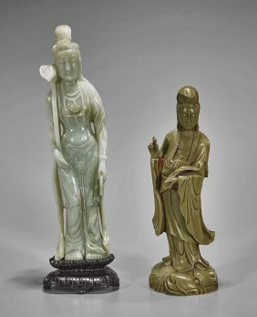 Two Tall Chinese Carved Guanyins