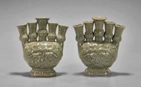 Pair Yuan-style Celadon Oil Vessels