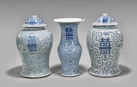 Three Blue & White 'double Happiness' Vases