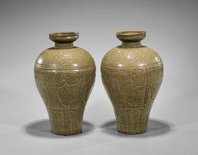 Pair Tall Yuheh-type Celadon Vases