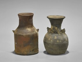 Two Antique Japanese Stoneware Vessels