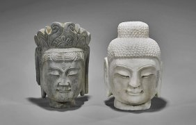 Two Chinese Carved Stone Buddhist Heads