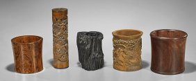 Five Chinese Items: Brushpots & Holder