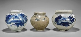 Three Korean Blue & White Porcelain Jars