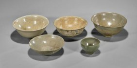 Five Old & Antique Chinese & Korean Celadon Bowls