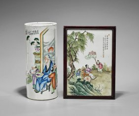 Two Chinese Enameled Porcelains: Hat Stand & Plaque