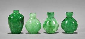 Four Glass Apple Green Snuff Bottles