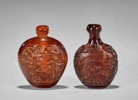 Four Snuff Bottles: Amber-like, Agate & Glass