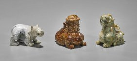 Three Archaistic Chinese Hardstone Animals