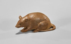 Japanese Carved Wood Okimono: Rat