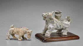 Two Chinese Han Dynasty Pottery Animals