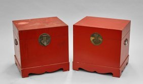 Pair Chinese Red Lacquer Chests
