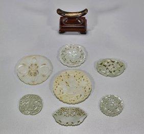 Seven Old & Antique Jade & Hardstone Plaques