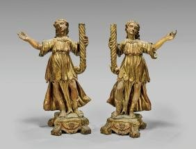 PAIR MEDIEVAL-STYLE GILT WOOD FIGURAL CANDLEHOLDERS