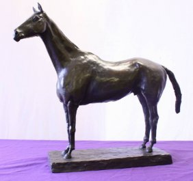 Cast Bronze Thoroughbred On Base