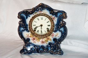8 Day Blue Clock By Ansonia