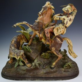 N. Mullers Sons Ny Sculpture Of Tiger Hunt
