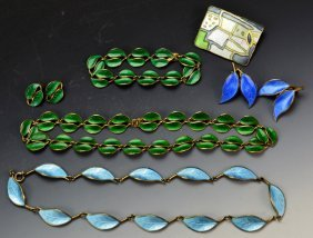 Davis Anderson Sterling & Enamel Necklace Lot