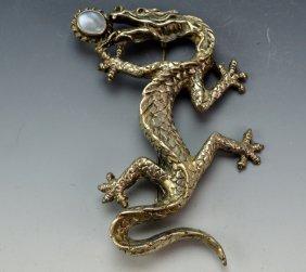 Sterling Silver & Moon Stone Dragon Brooch