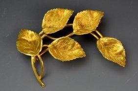 Tiffany And Co. 18k Yg Leaf Brooch