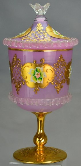 Bohemian Gilt Glass Covered Compote