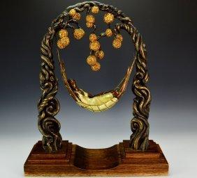 """Erte """"spider Web"""" Bronze Sculpture"""