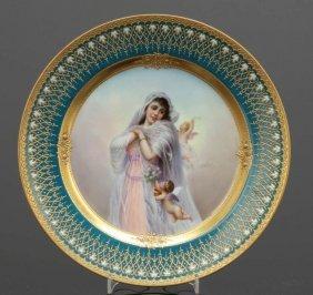 Porträtteller Mädchen Mit Zwei Putten Porzell