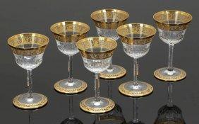 6 Weingläser 'thistle Gold' Verreries & Crist