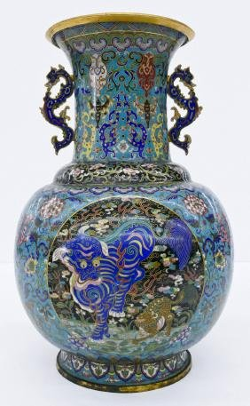A Chinese 18th Century Cloisonne Vase 16''x10.5''. A
