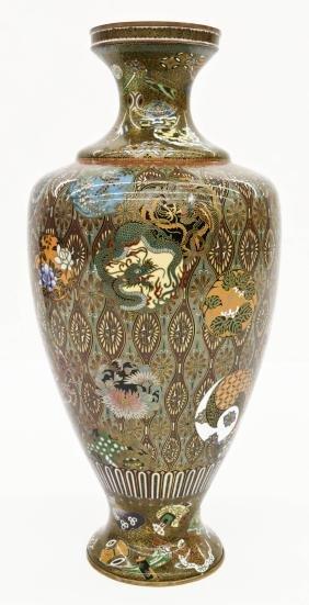A Fine Japanese Cloisonne Dragon Vase 13''x6''.