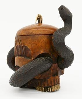 Japanese Snake With Skull Wood Humidor 8''x7''. Unusual