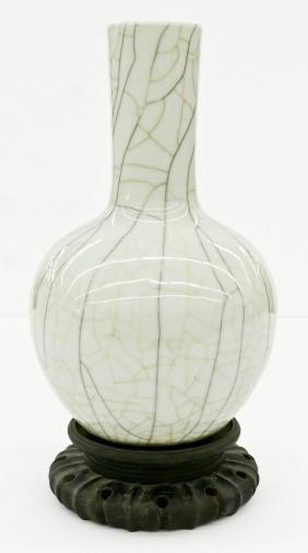 Chinese Ge Yao Porcelain Bottle Vase 13.5''x8''. White