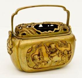 Ornate Japanese Bronze Hand Warmer 7''x8''. Pierced