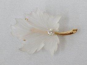 14k Carved Rock Crystal Leaf Brooch With .35 Carat