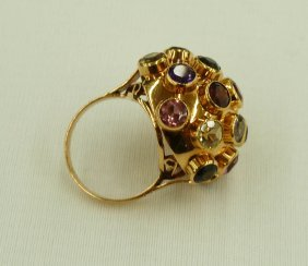 18k Multi Stone Cluster Ring With Garnets, Blue Top